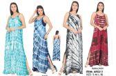 12 Units of Maxi Spaghetti Strap Tie Dye Rayon Dresses - Womens Sundresses & Fashion