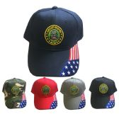 24 Units of United States Army Caps in Assorted Colors - Hats With Sayings