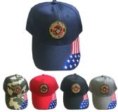 24 Units of United States Marine Caps in Assorted Colors - Hats With Sayings