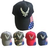 24 Units of United States Air Force Caps in Assorted Colors - Hats With Sayings