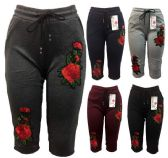 12 Units of Rose Flower Legging assorted colors Capris Pants - Womens Capri Pants