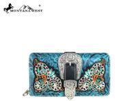 4 Units of Montana West Buckle Collection Secretary Style Wallet Turquoise - Wallets & Handbags