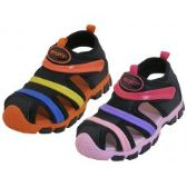 24 Units of Children's Rainbow Stripe Upper Velcro Sandals - Girls Shoes