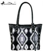 2 Units of Montana West Aztec Denim Collection Tote Bag Black - Tote Bags & Slings
