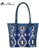 2 Units of Montana West Aztec Denim Collection Tote Bag NAVY - Tote Bags & Slings