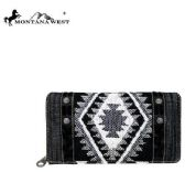4 Units of Montana West Aztec Denim Collection Secretary Style Wallet Black - Wallets & Handbags