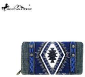 4 Units of Montana West Aztec Denim Collection Secretary Style Wallet Navy - Wallets & Handbags