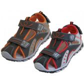 24 Units of Children's Pu. Leather Upper Multi Velcro Sandals - Boys Flip Flops & Sandals