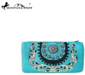 4 Units of Montana West Concho Collection Secretary Style Wallet Turquoise - Wallets & Handbags