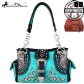 2 Units of Montana West Buckle Collection Concealed Carry Satchel Turquoise - Wallets & Handbags