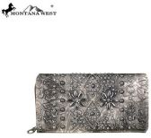 4 Units of Montana West Tooled Collection Secretary Style Wallet Pewter - Wallets & Handbags