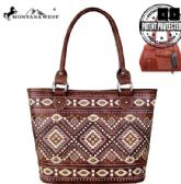 2 Units of Montana West Aztec Collection Concealed Carry Tote Coffee - Tote Bags & Slings