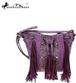 4 Units of Montana West Fringe Collection Drawstring Crossbody Purple - Tote Bags & Slings