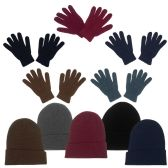 96 Units of Unisex Winter Beanie, Gloves in 5 Assorted Colors - Winter Sets Scarves , Hats & Gloves