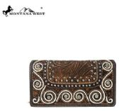 4 Units of Montana West Tooled Collection Secretary Style Wallet - Wallets & Handbags
