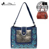2 Units of Montana West Tooled Collection Concealed Carry Hobo In Blue - Tote Bags & Slings