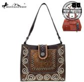 2 Units of Montana West Tooled Collection Concealed Carry Hobo In Coffee - Tote Bags & Slings