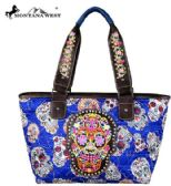2 Units of Montana West Sugar Skull Collection Wide Tote Blue - Tote Bags & Slings