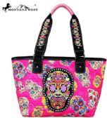 2 Units of Montana West Sugar Skull Collection Wide Tote Pink - Tote Bags & Slings