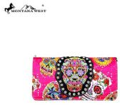 4 Units of Montana West Sugar Skull Collection Wallet Crossbody Pink - Wallets & Handbags
