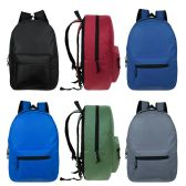 "24 Units of 17"" Wholesale Kids Basic Black Backpack in 6 Assorted Colors - Backpacks 17"""