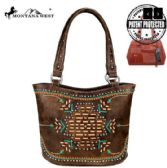 2 Units of Montana West Aztec Collection Concealed Carry Tote Bag Coffee - Tote Bags & Slings