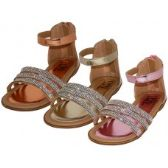 24 Units of Girl's Rhinestone Upper With Ankle Strip Sandals - Girls Sandals