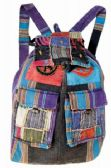 "10 Units of Patchwork Double Pocket Nepal Handmade Backpacks - Backpacks 15"" or Less"