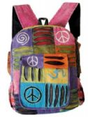 "10 Units of Peace Patchwork Backpacks Assorted - Backpacks 15"" or Less"