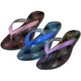 36 Units of Women's Metallic Sparkle Upper Rubber Thong Flip Flops - Women's Sandals