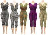 6 Units of Romper with Geometric Print Assorted Colors - Womens Rompers & Outfit Sets
