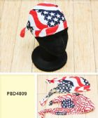 72 Units of Skull Caps Motorcycle Hats Fabric American Flag Print - Head Wraps