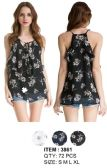 72 Units of Floral Simple Strap Chiffon Tops Assorted - Womens Fashion Tops