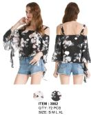 72 Units of Cold Shoulder Drap Sleeve Floral Top - Womens Fashion Tops
