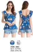 72 Units of Floral Ruffle Shoulder Top Assorted - Womens Fashion Tops