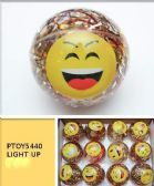 96 Units of Emoji Face Light Up Bouncy Ball - Balls
