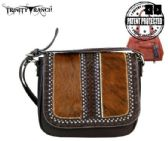 2 Units of Trinity Ranch Hair On Leather Collection Saddle Bag Coffee - Wallets & Handbags