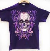 12 Units of Purple T Shirt Large Print Sugar Skull Assorted Sizes - Girls Tank Tops and Tee Shirts