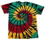 12 Units of Rasta Color Web Tie Dye Assorted Short Sleeve Shirts - Girls Tank Tops and Tee Shirts