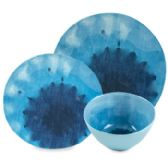 24 Units of Dinnerware Deluxe Blue Lagoon Sea - Plastic Bowls and Plates