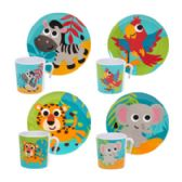 48 Units of Dinnerware Kids Jungle Animal Design - Plastic Bowls and Plates