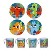 48 Units of Dinnerware Kids Sea Life Design - Plastic Bowls and Plates