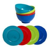 48 Units of Dinnerware Melamine - Plastic Bowls and Plates