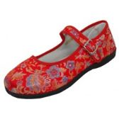 36 Units of Women's Satin Brocade Upper Mary Janes Shoe - Red Color Only - Women's Flats