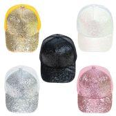24 Units of Glitter Mesh Adjustable Baseball Cap in 5 Assorted colors - Baseball Caps & Snap Backs