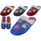 48 Units of Women's Satin Velour Floral Embroidery Upper Close Toe House Slippers - Women's Slippers