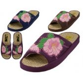 48 Units of Women's Satin Flower Embroidery Upper Open Toe House Slippers - Women's Slippers