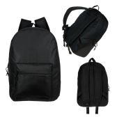 "24 Units of 17"" Wholesale Kids Basic Black Backpack - Backpacks 17"""