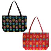 24 Units of Extra Large Canvas Pineapple Beach Tote Bag in 2 Assorted Colors - Tote Bags & Slings