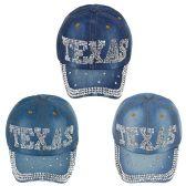 24 Units of Adjustable Texas Jewel Rhinestone Half Bling Studs Baseball Cap - Hats With Sayings